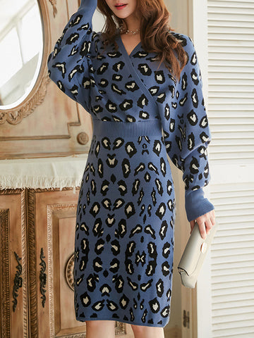 Leopard Print Stitching V-Neck Knit Sweater Dress