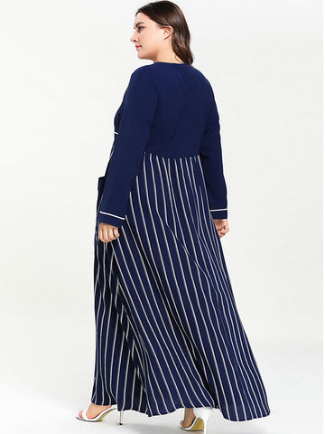 Oversize Drawstring Print Hit Color Stitching Stripe Pocket Maxi Dress
