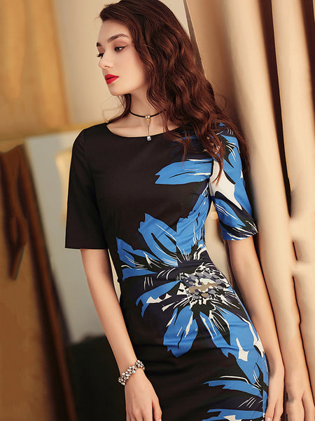 Simple Gathered Waist Print Floral Hit Color Bodycon Dress