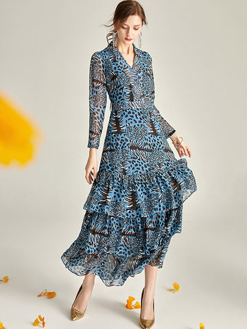 Chic Blue Leopard Print Floral Tiered Falbala Maxi Dress