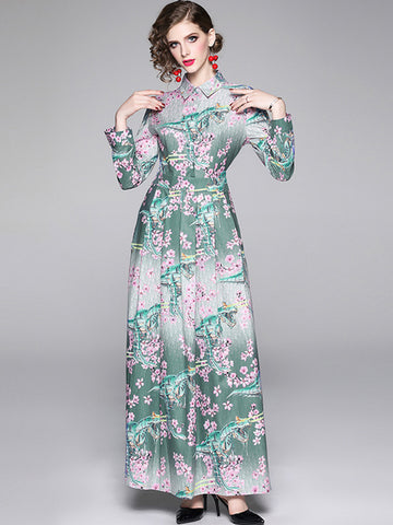Vintage Sakura Printing Single Breasted Gathered Waist Maxi Dress