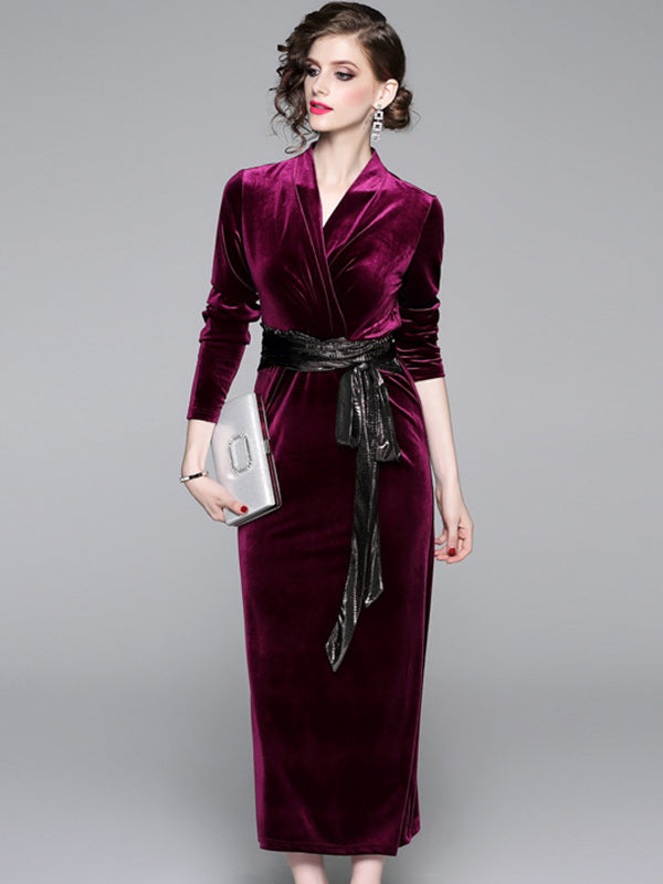 Elegant Velour Hit Color Lacing Belted V-Neck Maxi Dress