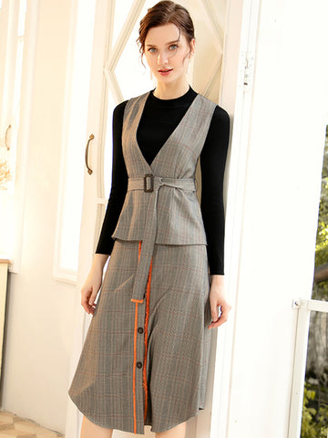 Chic Single Breasted Three-piece Suit Waistcoat Knit Bodycon Dress