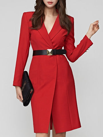 Work Fastener Belted Lapel Collar Slit Long Sleeve Bodycon Dress
