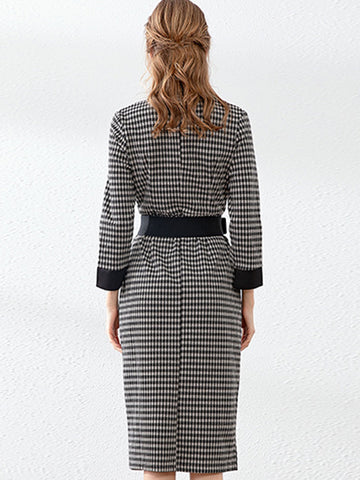 Fashion Stitching Plaid Stripe Belted Pocket Bodycon Dress