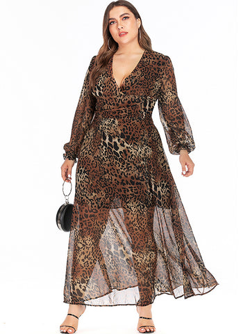Oversize Leopard Print Deep V-Neck Chiffon Maxi Dress