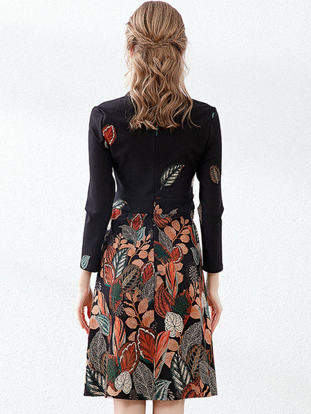 Styleonme Stitching Embroidery Print Bodycon Dress