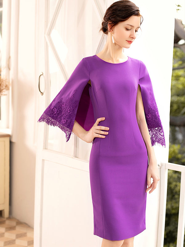 Elegant Cloak Sleeve Stitching Lace Solid Bodycon Dress