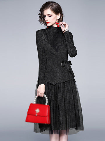 Chic Stitching Mesh Two Piece Knit Sweater Dress