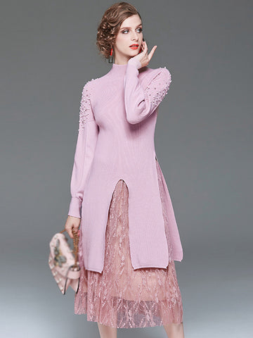 Sweet Two Piece Knit Stitching Lace Print Sweater Dress