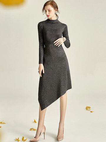 Irregular Hem Multicolor Bling Bling Knit Sweater Dress