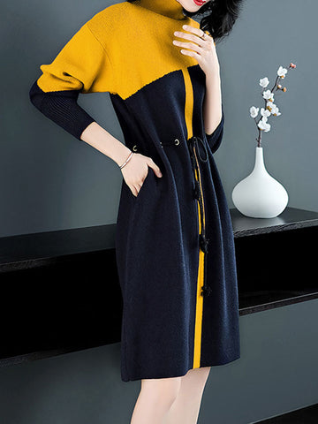Color-Block Multicolor Drawstring Lacing Knit Sweater Dress