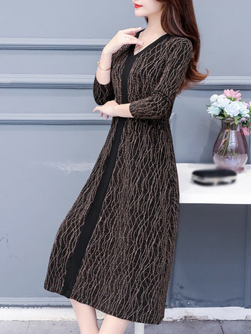 Fashion Stitching Silk Thread Simier Sweater Dress