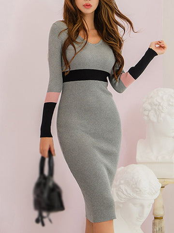 Sexy Stitching Coulor Knit Bodycon Sweater Dress