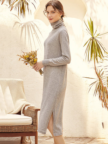 British Solid Slit Shift Knit Sweater Dress(Without Belt)