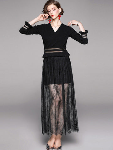 Chic Knit Stitching Lace Falbala Sweater Dress