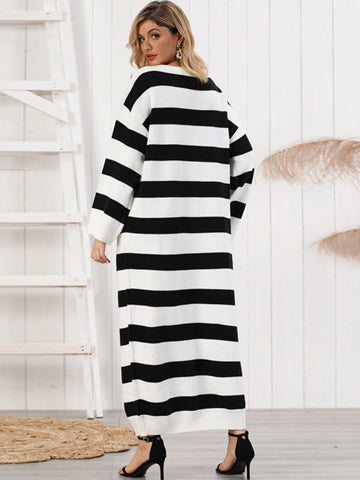 Oversize Long Shift Stripe Knit Sweater Dress