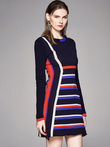 Chic Stripe Color-Block Bodycon Sweater Dress