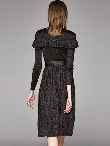 Black fungus lace BlingBling Pleated Sweater Dress