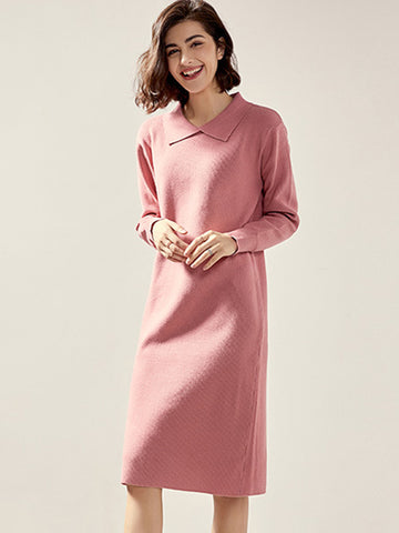 Turn-Down Collar Solid Knit Sweater Dress