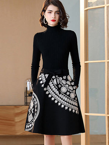 Chic Stitching Embroidery Print Knit Sweater Dress