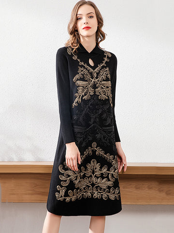 Stylish Embroidery Woolen Knit Shift Sweater Dress