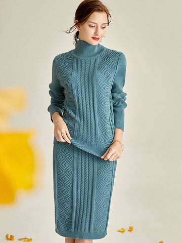 Stylish Multicolor Two Piece Knit Sweater Dress