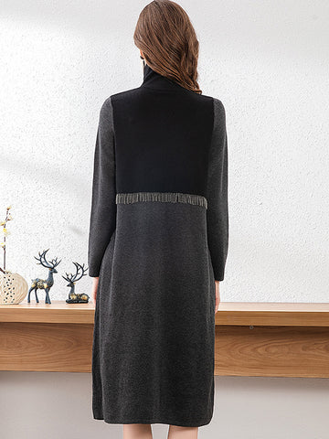Fashion Stitching Color-Block Knit Sweater Dress