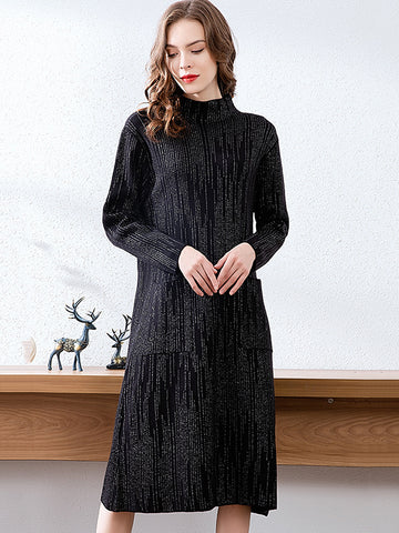 Polish Pocket Paillette Stripe Shift Sweater Dress