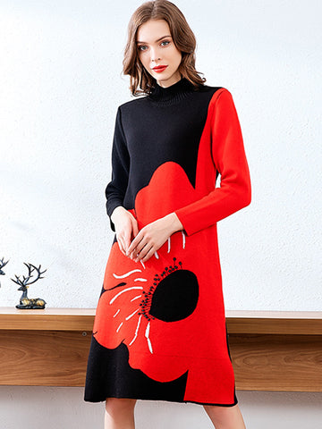 Stylish Multicolor Flower Color-Block Shift Sweater Dress
