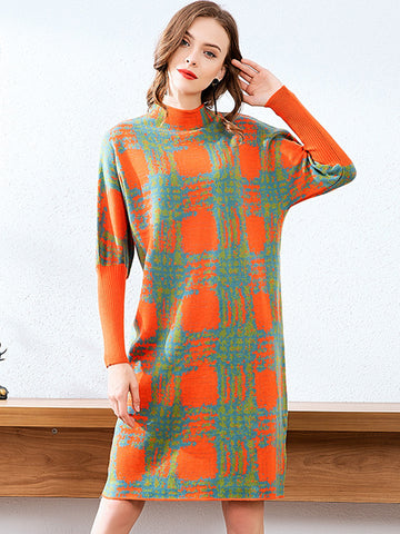 Fashion Plaid Multicolor Shift Sweater Dress
