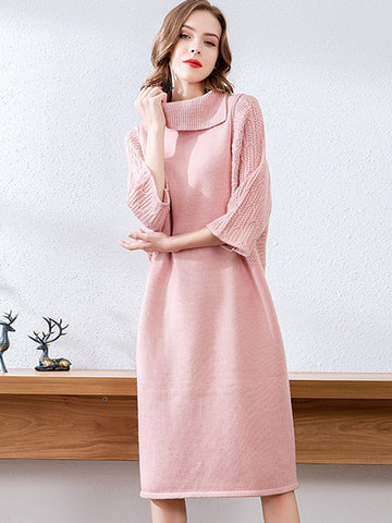 Casual High Collar Multicolor Shift Sweater Dress
