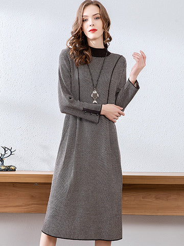 Fashion Stitching Stand Collar Shift Knit Sweater Dress