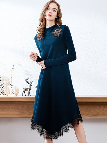 Stylish Irregular Stitching Lace Hem Knit Sweater Dress