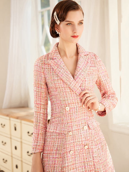 Vintage Pocket Double-Breasted Pink Plaid Bodycon Dress