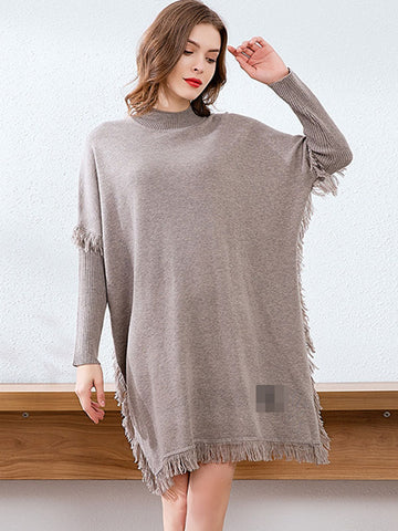 Casual Stitching Tassels Multicolor Knit Sweater Dress