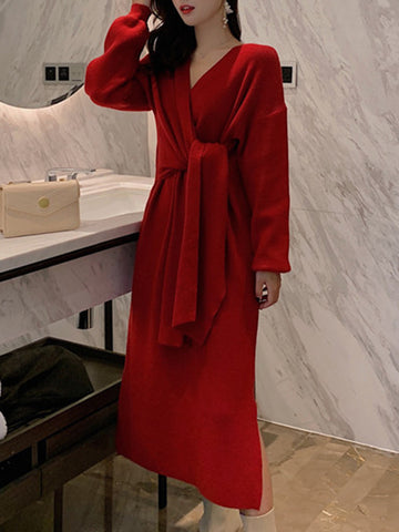 Casual Sexy Slit Lacing Belted Red Sweater Dress