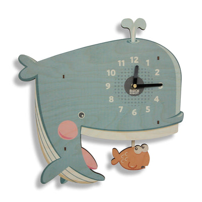 Whale pendulum wall clock for kids