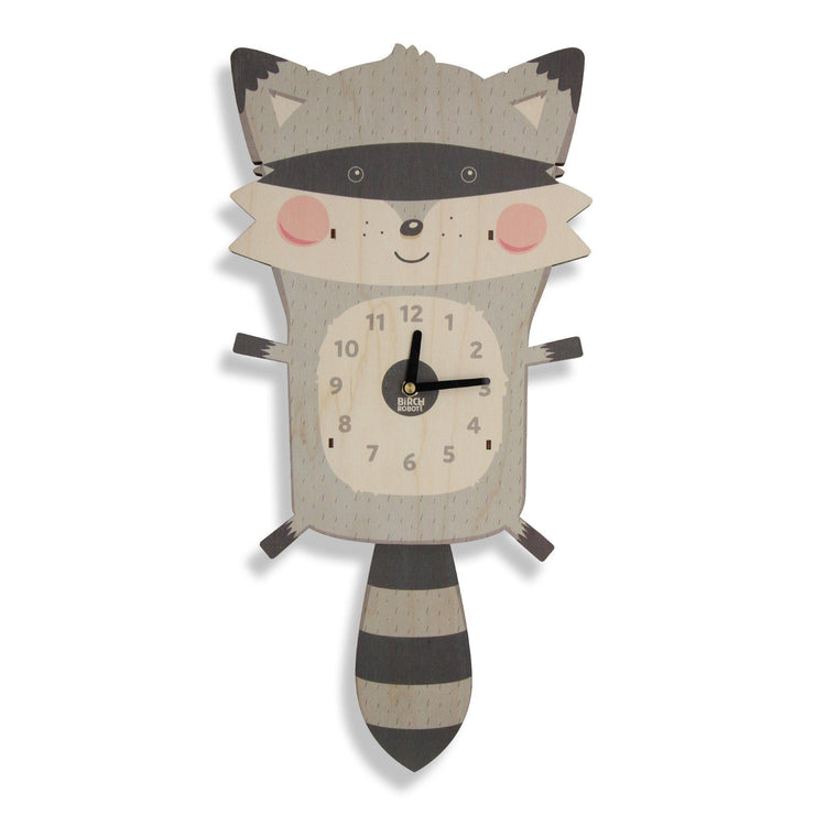 raccoon kids wall clock woodland