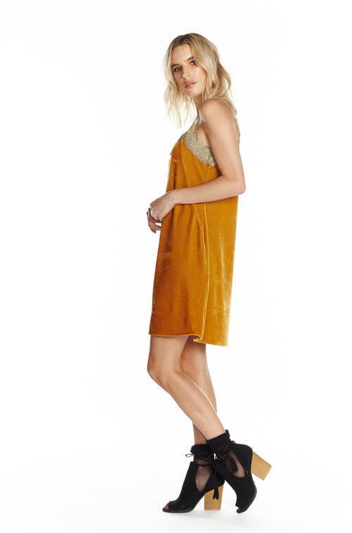 Aratta 'Without You' Velvet Mini Dress in Gold