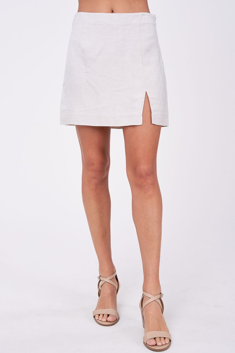 Linen Mini Skirt With Slit
