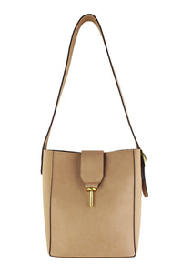Tan Two Toned Bucket Bag