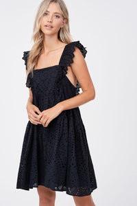 Square Neck Eyelet Mini Dress