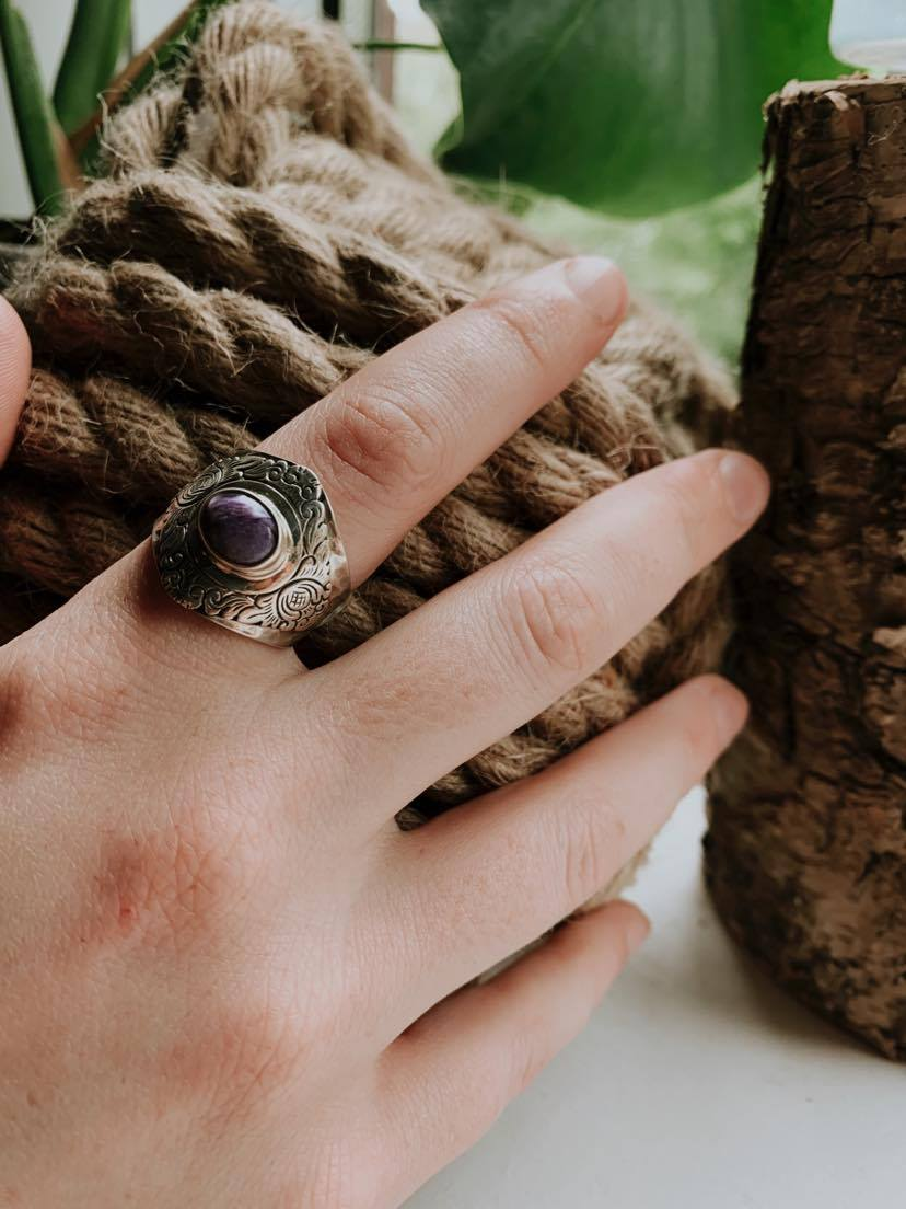 The Cleopatra Charoite Ring (Size 9)
