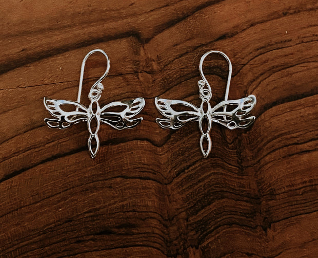Sterling Silver Dragonfly Cut Out Dangles