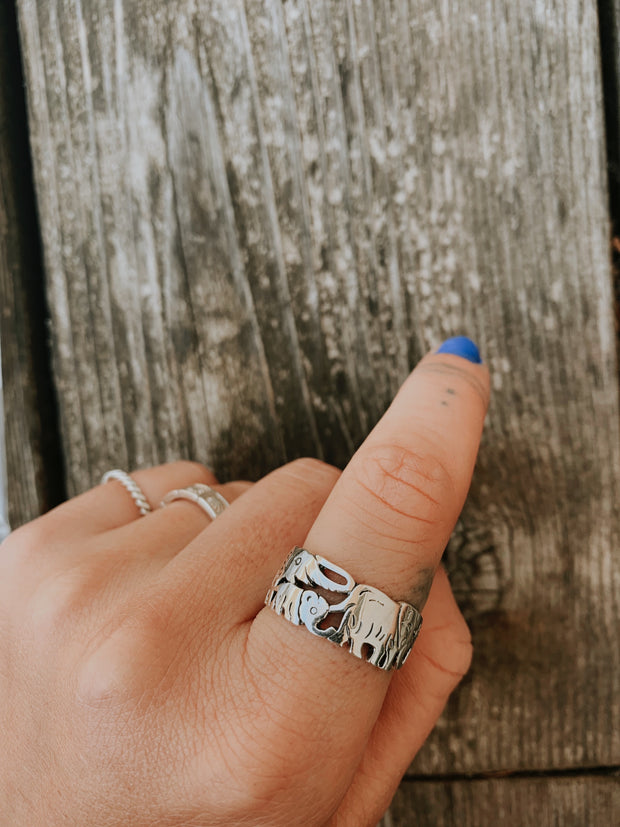 Sterling Silver Elephant Band Ring