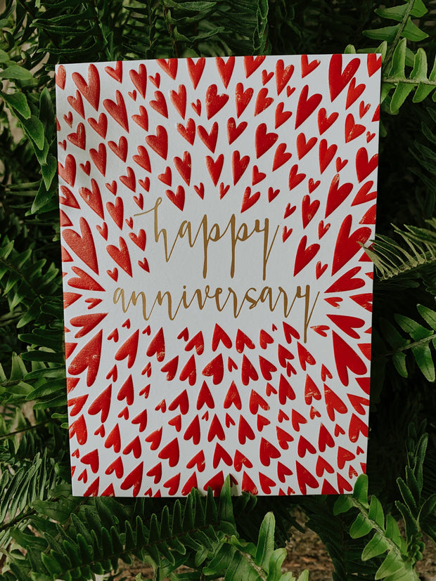 Happy Anniversary Card- Red Hearts