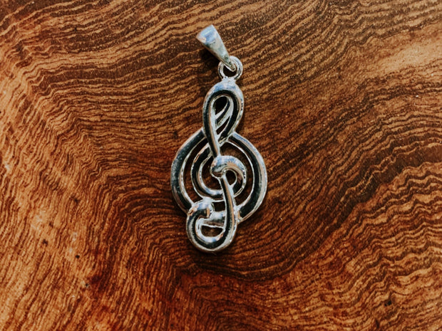 Sterling Silver Trebel Clef Pendant