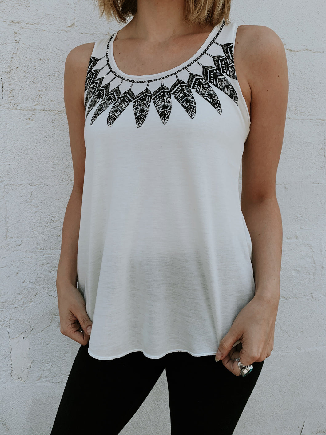 Tank Top- Black Feather