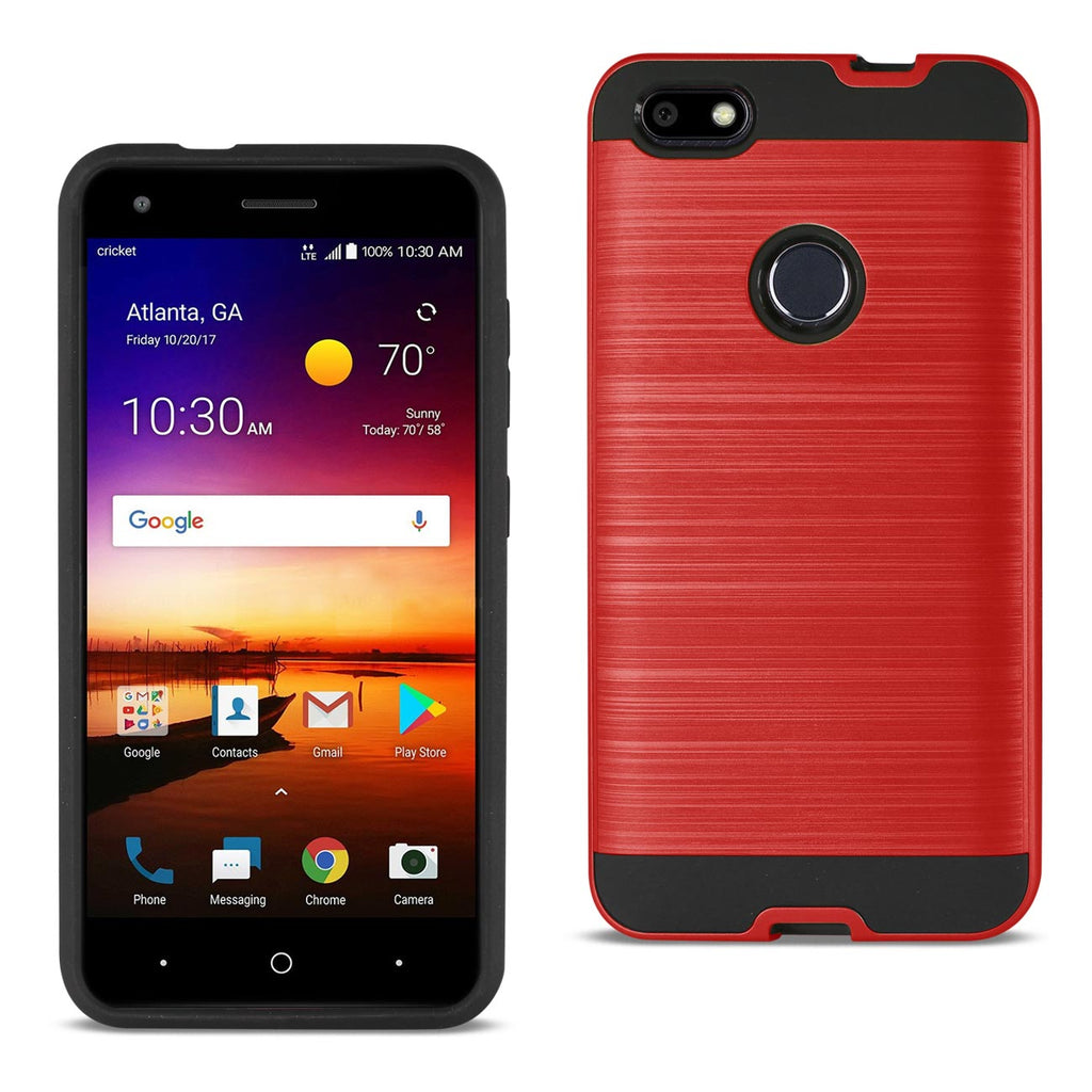 Reiko ZTE Blade X / Z965 Hybrid Metal Brushed Texture Case In Red - keywebcoshop